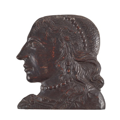 Lot 12-CARVED OAK PORTRAIT OF HENRIETTA MARIA, WIFE OF CHARLES I