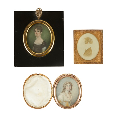 Lot 19 - THREE PORTRAIT MINIATURES OF YOUNG LADIES