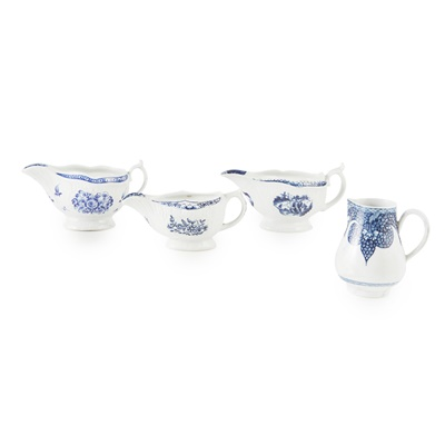 Lot 98 - THREE ENGLISH BLUE AND WHITE PORCELAIN SAUCE BOATS