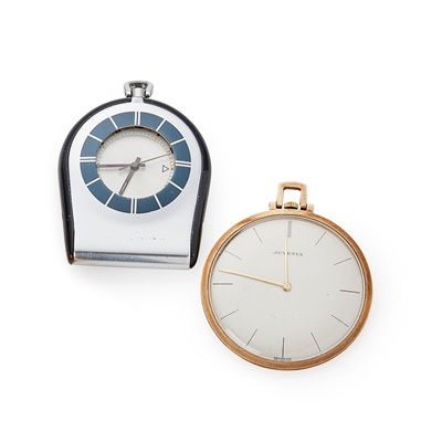 Lot 371 - A stainless steel travel alarm clock, Jaeger LeCoultre