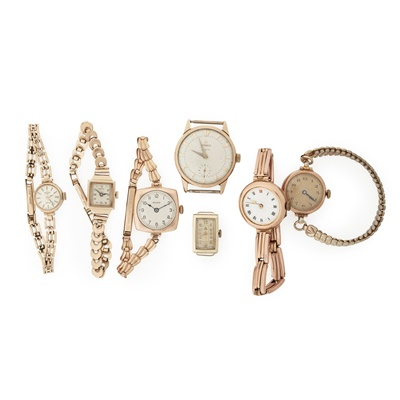 Lot 363 - Seven various gold 20th century wristwatches