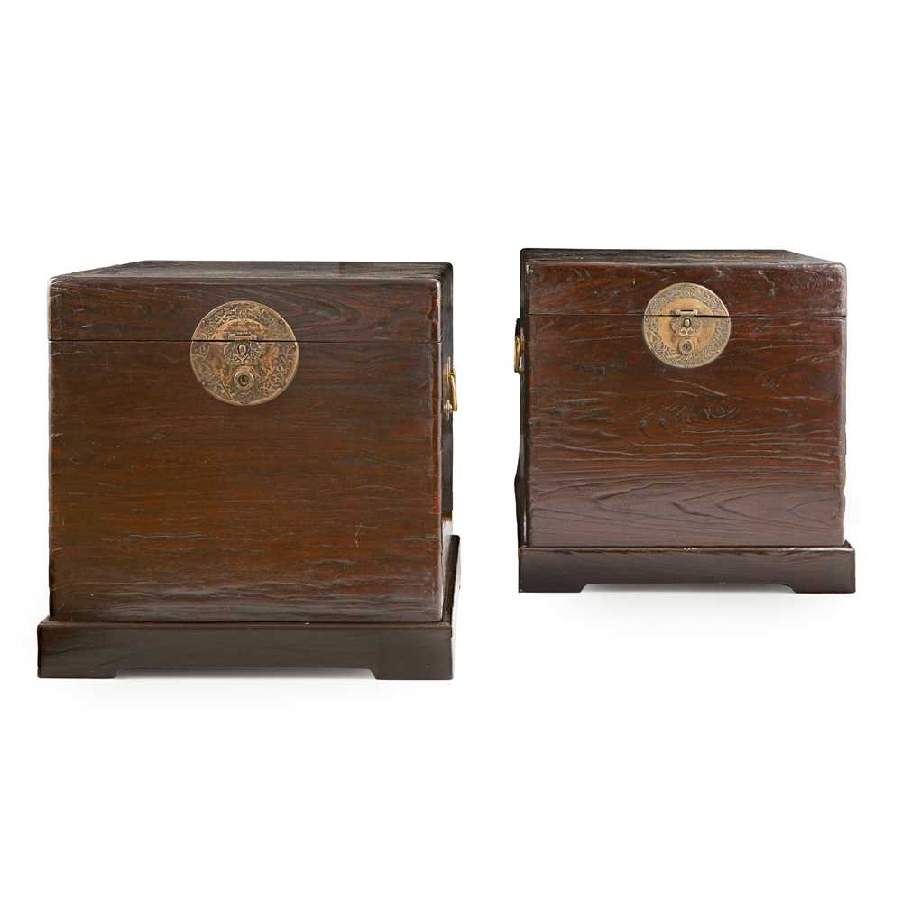 Lot 18-PAIR OF LARGE ELM WOOD BOXES WITH STANDS