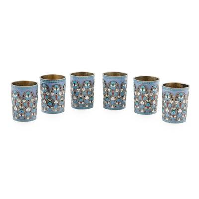 Lot 407 - A set of six Russian enamel beakers