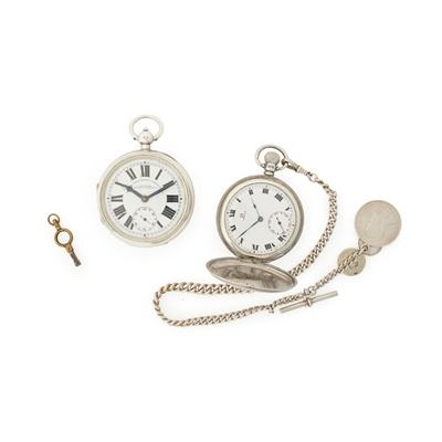 Lot 372 - A silver hunter cased pocket watch, Omega