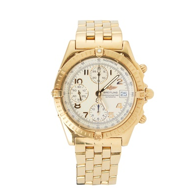 Lot 334 - A gentleman's 18ct gold chronograph wristwatch, Breitling
