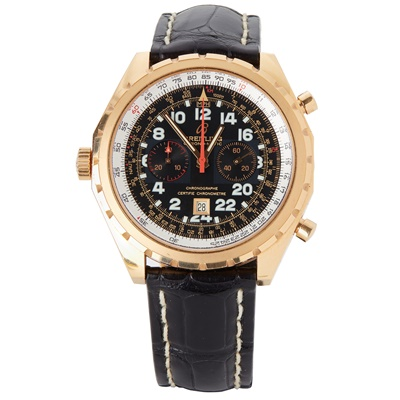 Lot 333 - A gentleman's 18ct rose gold cased chronograph, Breitling