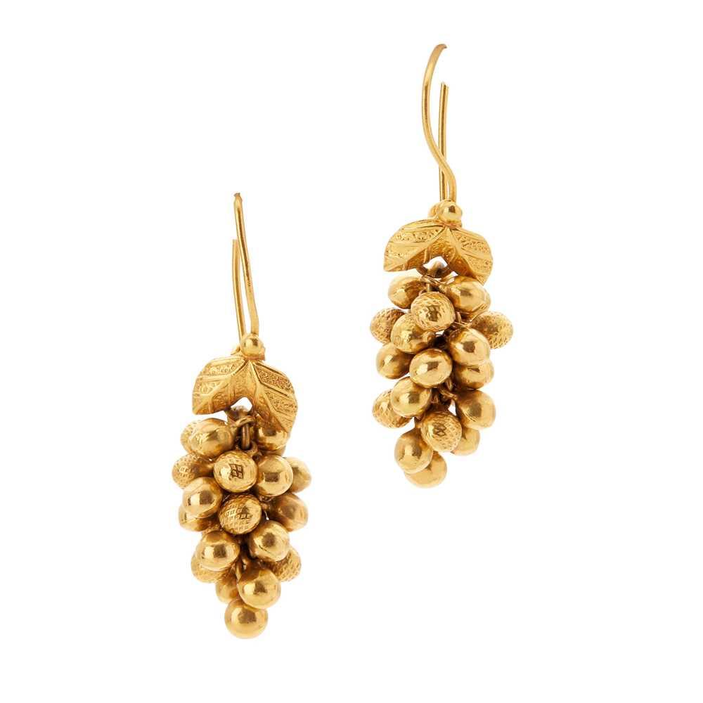 Lot 153 - A pair of pendant earrings