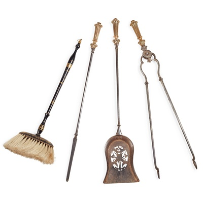 Lot 81 - SET OF GEORGIAN STEEL AND BRASS FIRE TOOLS