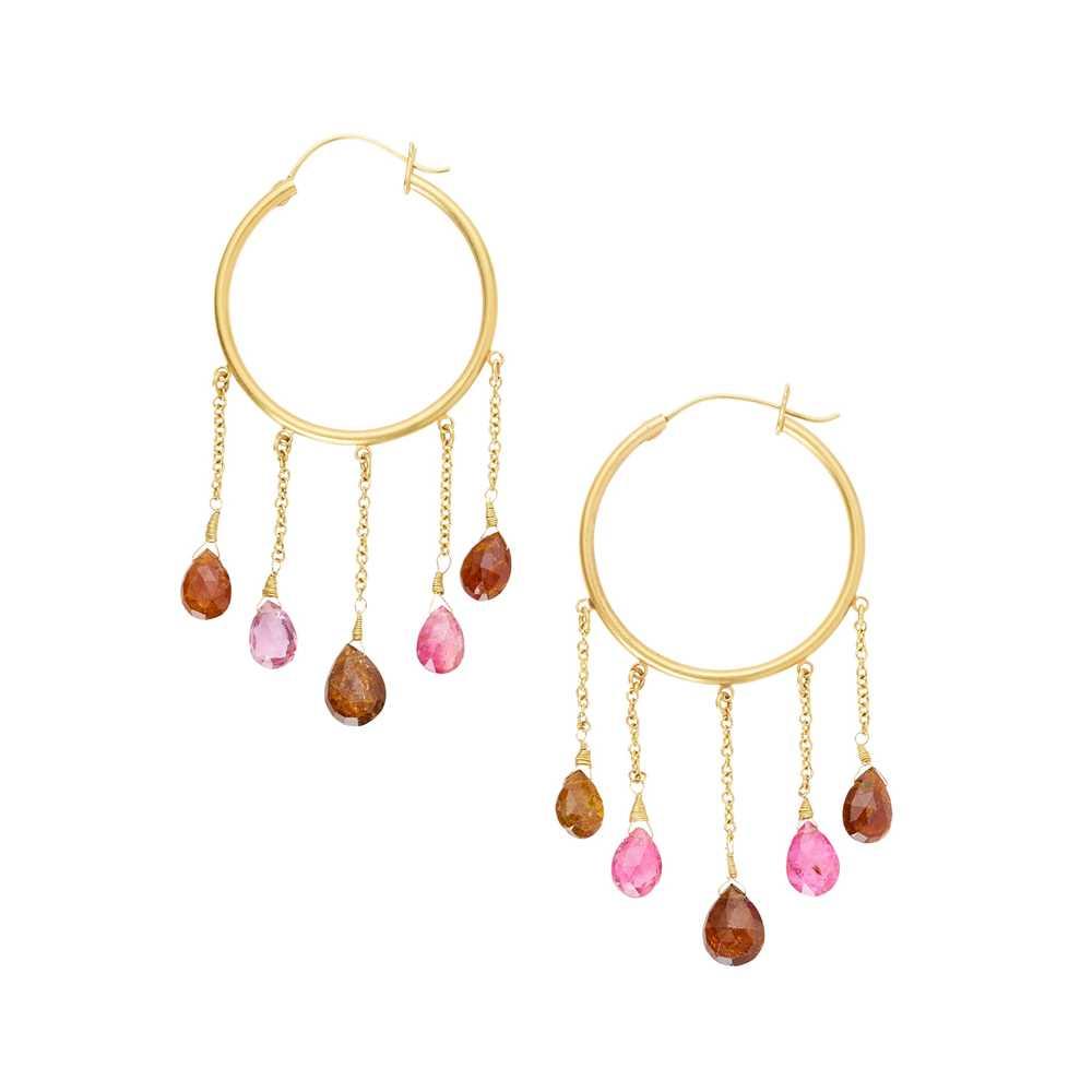 Lot 8-A pair of tourmaline set hoop earrings