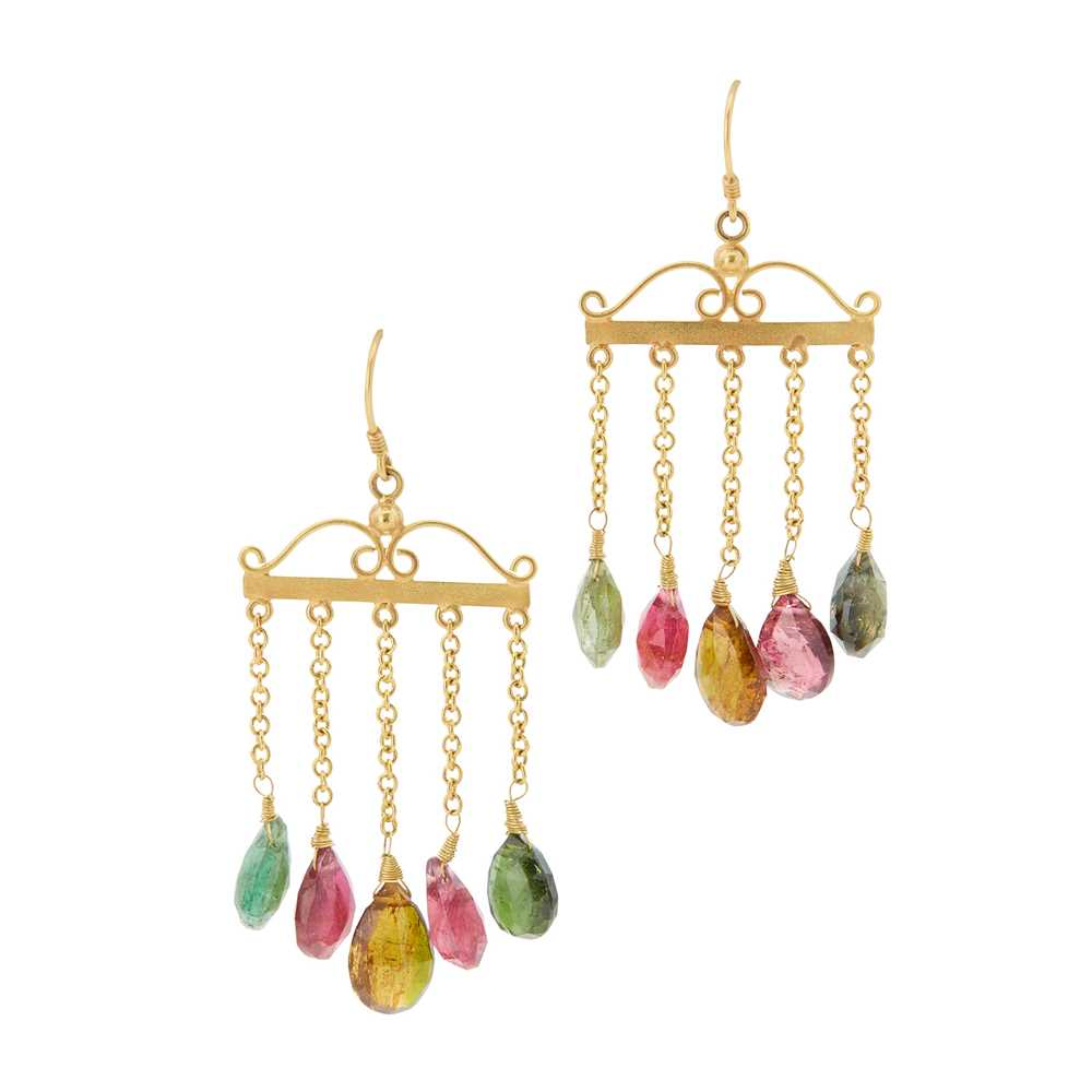 Lot 7-A pair of tourmaline set pendant earrings