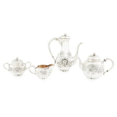 Lot 410 - A Japanese export four piece tea and coffee service