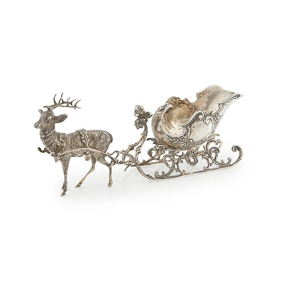 Lot 388 - A Continental novelty sleigh with reindeer