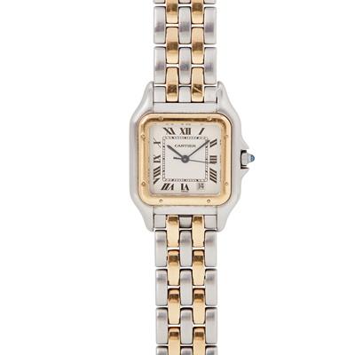 Lot 337 - A gentleman's 18ct gold and steel wristwatch, Cartier