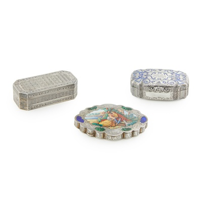 Lot 379 - A group of  three Continental silver table boxes