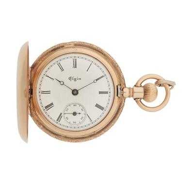 Lot 365 - A lady's 18ct gem set fob watch, Elgin