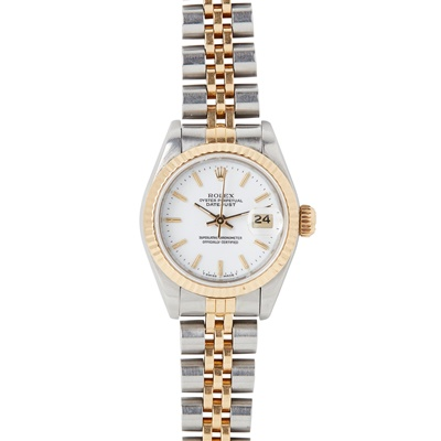 Lot 352 - A lady's stainless steel and gold wristwatch, Rolex