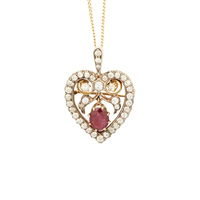 Lot 1-A late 19th century ruby and diamond set pendant/brooch