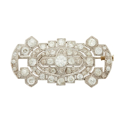 Lot 25-A diamond set plaque brooch