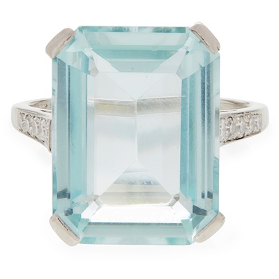 Lot 36-An aquamarine and diamond set cocktail ring