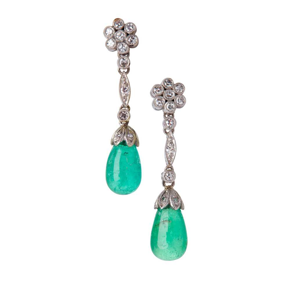 Lot 20-A pair of emerald and diamond set pendant earrings