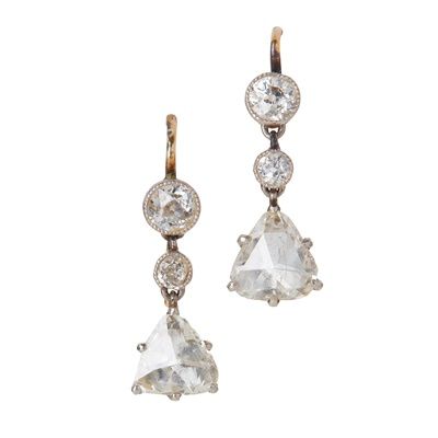 Lot 30-A pair of diamond set earrings