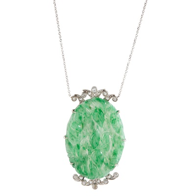 Lot 21-A jade and diamond set pendant necklace