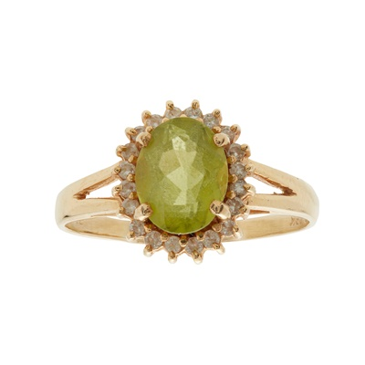 Lot 40-A peridot and diamond set cluster ring
