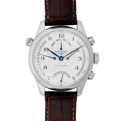 Lot 349 - A gentleman's stainless steel chronograph, Longines