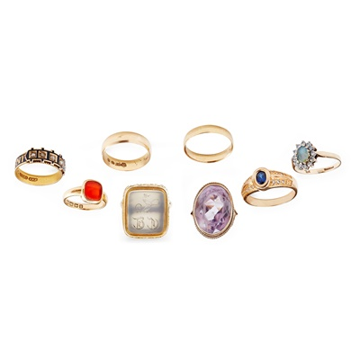 Lot 126 - A collection of gem set rings