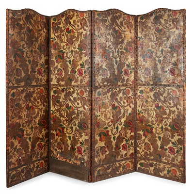 Lot 94 - SPANISH PAINTED AND GILDED LEATHER FOUR-FOLD SCREEN