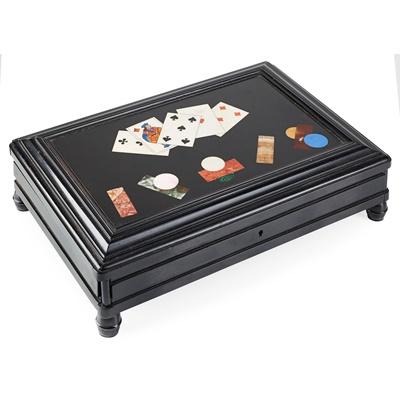 Lot 110 - FLORENTINE PIETRA DURA AND EBONISED TABLE CASKET
