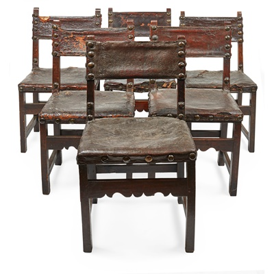 Lot 96 - SET OF EIGHT SPANISH WALNUT AND LEATHER CHAIRS