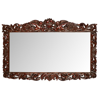 Lot 95 - BAROQUE STYLE CARVED FRUITWOOD MIRROR