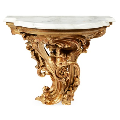 Lot 107 - ROCOCO STYLE CARVED GILTWOOD, MARBLE, AND GESSO WALL BRACKET
