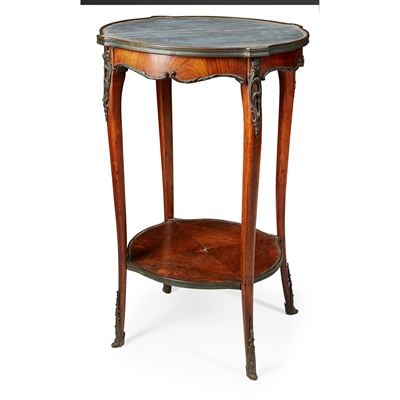 Lot 106 - FRENCH KINGWOOD AND MARBLE BOUILLOTTE TABLE