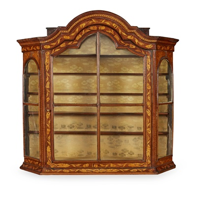 Lot 100 - DUTCH WALNUT AND MARQUETRY HANGING DISPLAY CABINET
