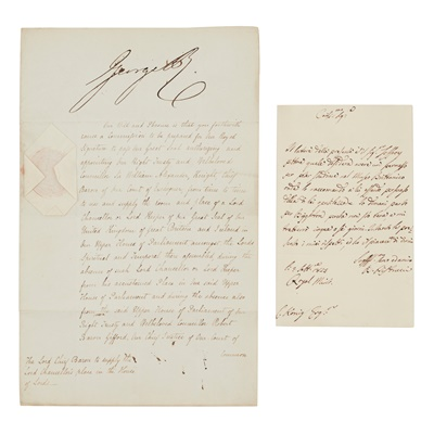 Lot 229 - George IV, King of the United Kingdom of Great Britain and Ireland & Robert Peel as Home Secretary