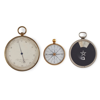 Lot 100 - Negetti and Zambra, London - A cased pocket barometer and a compass