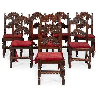 Lot 2 - MATCHED SET OF EIGHT 17TH CENTURY STYLE CARVED OAK DINING CHAIRS, PROBABLY YORKSHIRE