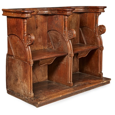 Lot 1 - LATE GOTHIC OAK AND WALNUT CHOIR STALL
