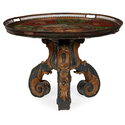 Lot 14 - TOLE TRAY AND PARCEL-GILT CARVED OCCASIONAL TABLE