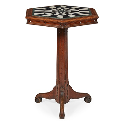 Lot 12 - VICTORIAN GOTHIC REVIVAL OAK AND MARBLE LAMP TABLE