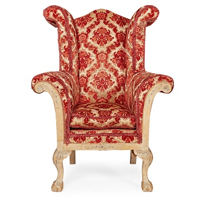 Lot 11 - GEORGE I STYLE WING ARMCHAIR