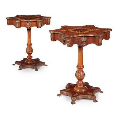 Lot 17 - PAIR OF CONTINENTAL KINGWOOD, MARQUETRY, BRASS MOUNTED OCCASIONAL TABLES