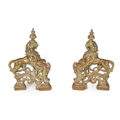 Lot 7 - PAIR OF BRASS CHENETS