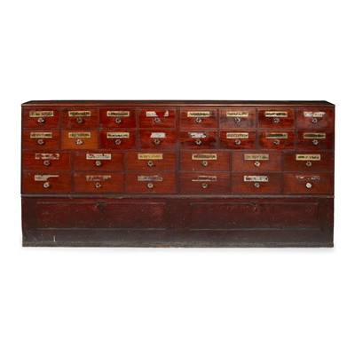 Lot 84A - LARGE PINE AND MAHOGANY APOTHECARY'S CABINET