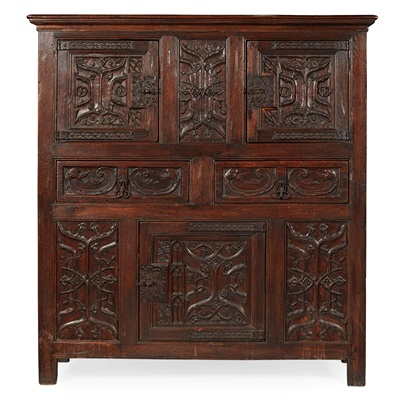 Lot 27 - LATE GOTHIC STYLE CARVED PARCHEMIN PANEL OAK LIVERY CUPBOARD