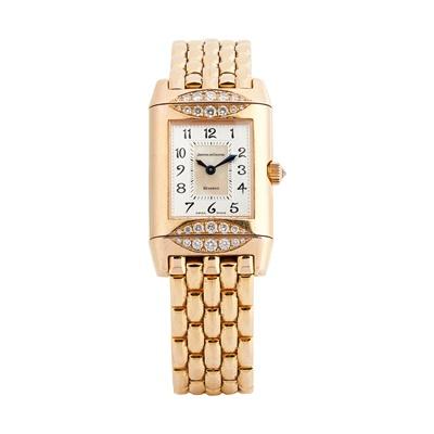 Lot 142 - Jaeger-LeCoultre: a rare Reverso diamond set wrist watch