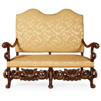 Lot 39 - WILLIAM AND MARY STYLE PARCEL-GILT WALNUT DOUBLE CHAIRBACK SETTEE