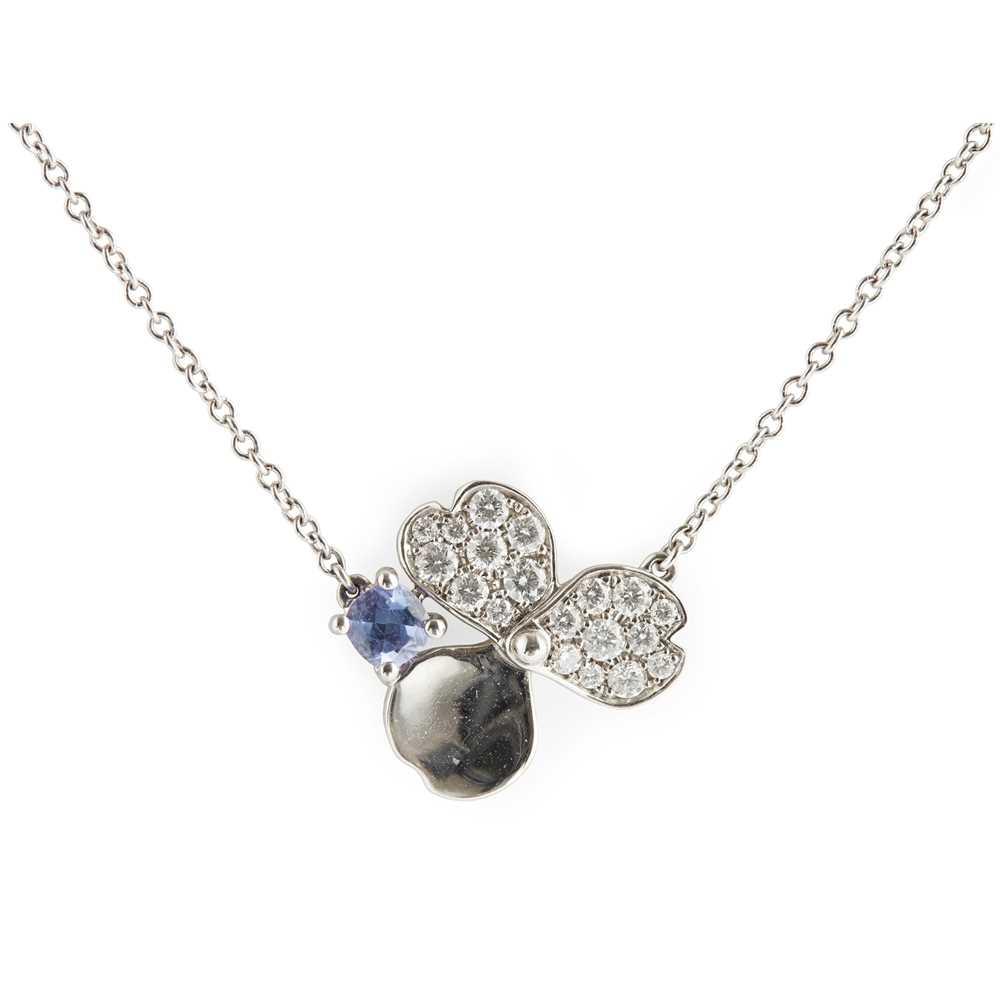 Lot 55 - A diamond and Tanzanite set 'paper flowers' pendant, Tiffany & Co.